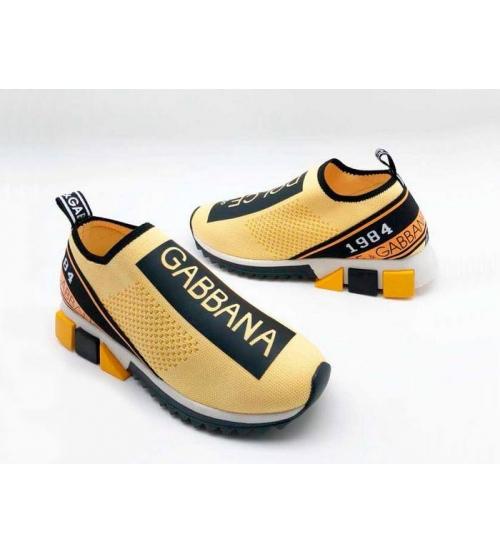 Женские кроссовки Dolce&Gabbana (Дольче Габбана) текстиль с принтом без шнуровки Yellow