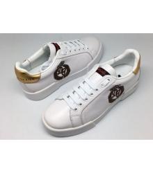 Женские кроссовки Dolce&Gabbana (Дольче Габбана) White/Gold/Black