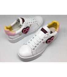 Женские кроссовки Dolce&Gabbana (Дольче Габбана) White/Red/Pink