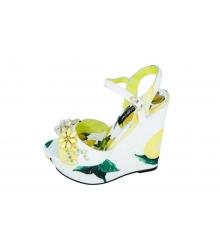 Женские босоножки Dolce&Gabbana (Дольче Габбана) White/Yellow