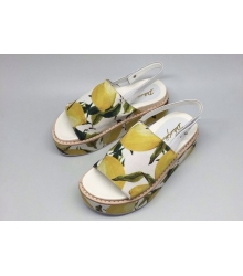 Босоножки женские Dolce&Gabbana (Дольче Габбана) Yellow/White