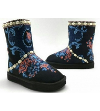 Угги женские Dolce&Gabbana (Дольче Габбана) замшевые Black/Red