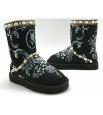 Угги женские Dolce&Gabbana (Дольче Габбана) замшевые Black/White