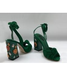 Босоножки женские Dolce&Gabbana (Дольче Габбана) замшевые с заклепками Green