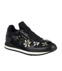 Женские кроссовки Dolce&Gabbana (Дольче Габбана) кожаные Black