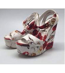 Босоножки женские Dolce&Gabbana (Дольче Габбана) White/Red