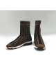 Женские кроссовки Fendi (Фенди) брендовые высокие с лого Brown