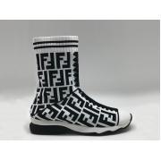Женские кроссовки Fendi (Фенди) брендовые высокие с лого White/Black