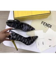 Женские туфли Fendi (Фенди) Colibrì кожаные летние высокий каблук шпилька Black