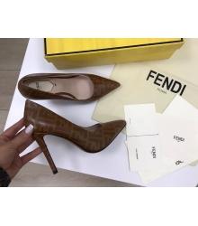 Женские туфли Fendi (Фенди) Colibrì кожаные летние высокий каблук шпилька Brown