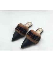Мюли женские Fendi (Фенди) Colibrì летние кожаные с мехом Black