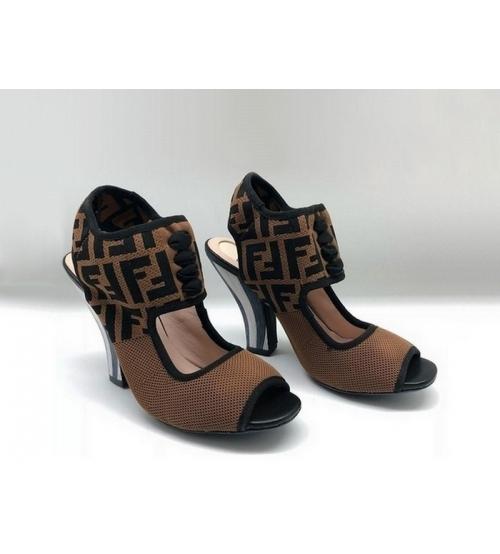Женские босоножки Fendi (Фенди) Colibrì летние текстиль Brown/Black