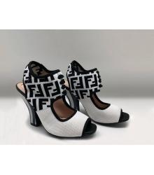Женские босоножки Fendi (Фенди) Colibrì летние текстиль White/Black