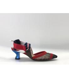 Женские туфли-лодочка Fendi (Фенди) Colibrì с открытой пяткой летние на среднем каблуке Brown/Red