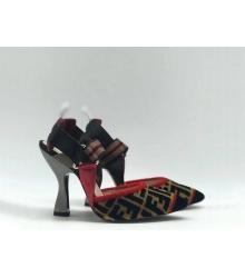 Женские туфли-лодочка Fendi (Фенди) Colibrì с открытой пяткой летние на высоком каблуке Black/Red