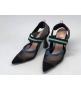 Женские туфли-лодочка Fendi (Фенди) Colibrì с открытой пяткой летние на высоком каблуке Black