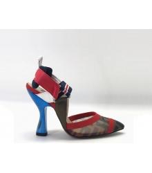 Женские туфли-лодочка Fendi (Фенди) Colibrì с открытой пяткой летние на высоком каблуке Brown/Red