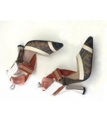 Женские туфли-лодочка Fendi (Фенди) Colibrì с открытой пяткой летние на высоком каблуке Brown/White