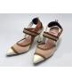 Женские туфли-лодочка Fendi (Фенди) Colibrì с открытой пяткой летние на высоком каблуке White/Brown