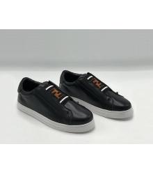 Женские кроссовки Fendi (Фенди) FF кожаные Black