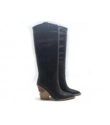 Сапоги-казаки женские Fendi (Фенди) FF кожаные каблук средней длины Black