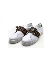 Женские кроссовки Fendi (Фенди) FF кожаные White/Brown