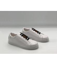 Женские кроссовки Fendi (Фенди) FF кожаные White