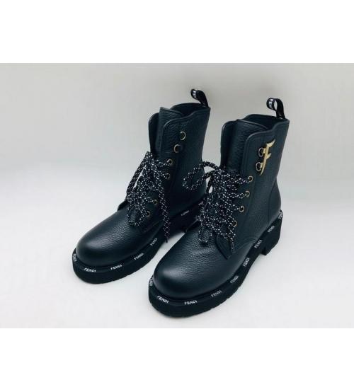 Женские ботинки Fendi (Фенди) FFreedom кожаные на шнуровке Black