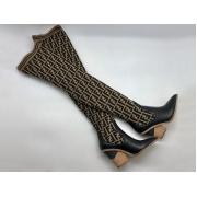 Ботфорты чулки женские Fendi (Фенди) кожа текстиль каблук скошенный Black