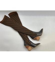 Ботфорты чулки женские Fendi (Фенди) кожа текстиль каблук скошенный Black/Brown