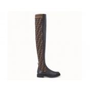Ботфорты женские Fendi (Фенди) кожа текстиль низкий каблук Black