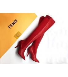 Женские ботфорты Fendi (Фенди) кожаные каблук шпилька Red