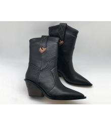 Женские полусапожки казаки Fendi (Фенди) кожаные каблук скошенный Black