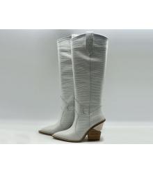 Сапоги-казаки женские Fendi (Фенди) кожаные каблук скошенный средней длины White