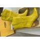 Женские казаки Fendi (Фенди) кожаные каблук скошенный Yellow
