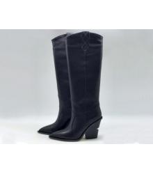 Сапоги-казаки женские Fendi (Фенди) кожаные каблук средней длины Black