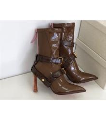 Ботильоны женские Fendi (Фенди) кожаные каблук средней длины на молнии Brown