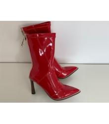 Ботильоны женские Fendi (Фенди) кожаные каблук средней длины на молнии Red
