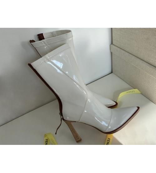 Ботильоны женские Fendi (Фенди) кожаные каблук средней длины на молнии White