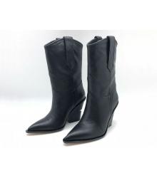 Женские сапоги казаки Fendi (Фенди) кожаные на каблуке казаки Black