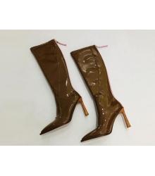 Женские сапоги Fendi (Фенди) кожаные на каблуке средней длины и молния Brown