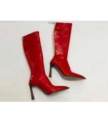 Женские сапоги Fendi (Фенди) кожаные на каблуке средней длины и молния Red