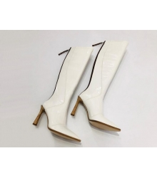 Женские сапоги Fendi (Фенди) кожаные на каблуке средней длины и молния White
