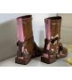 Ботинки женские Fendi (Фенди) кожаные на молнии съёмными ремнями Brown