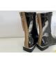 Ботинки женские Fendi (Фенди) кожаные на низком каблуке на молнии Black