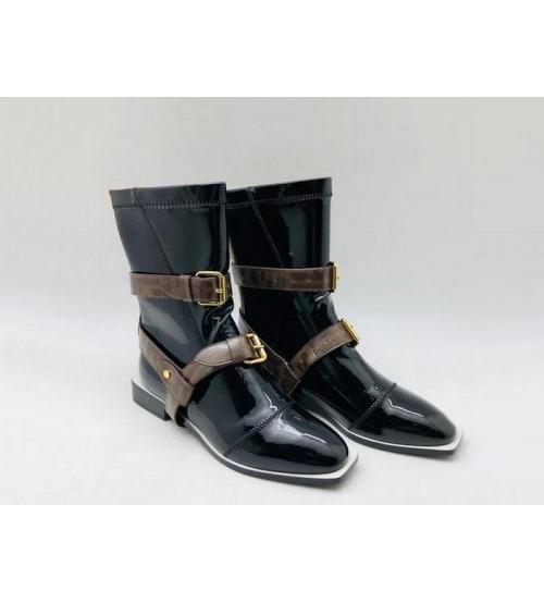 Ботинки женские Fendi (Фенди) кожаные на низком каблуке на молнии съёмными ремнями Black