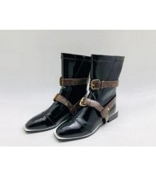 Полусапожки женские Fendi (Фенди) кожаные на низком каблуке на молнии съёмными ремнями Black