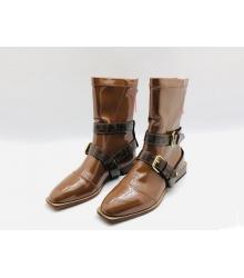 Ботинки женские Fendi (Фенди) кожаные на низком каблуке на молнии съёмными ремнями Brown