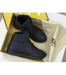 Женские кеды Fendi (Фенди) кожаные на шнурках Black