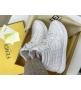 Женские кеды Fendi (Фенди) кожаные на шнурках White